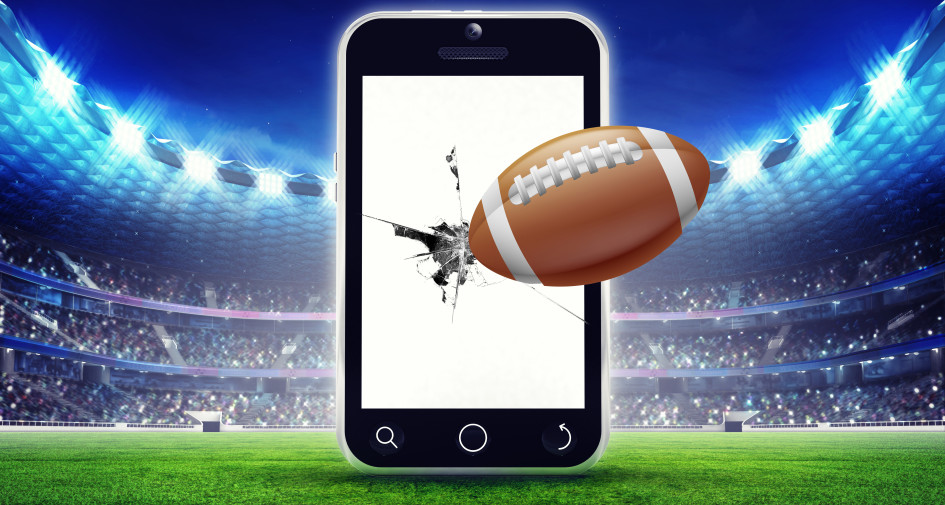 Football Cracked Phone Super Bowl